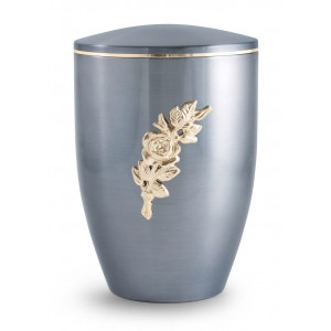 Melina Edition Steel Cremation Ashes Urn – Moon Blue with Gold Rose