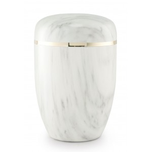 Steel Urn (Marbled Carrara White Finish– Golden Trim)