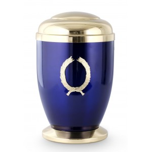 Steel Urn (Wreath Decoration – Cobalt Blue)