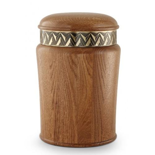Rustic Oak Cremation Ashes Urn (Vintage Dressing)