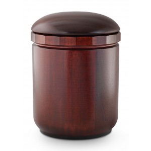 Natural Turned Mahogany Cremation Ashes Urn (Intricately Handmade)