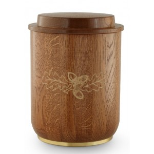 Rustic Oak Cremation Ashes Urn (Carved Oak Leaf Clasp)