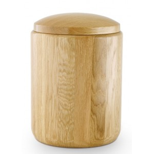 Lacquered Solid Natural Oak Cremation Ashes Urn – (Without Golden Metal Base)