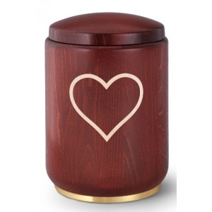 Romance Edition Cremation Ashes Urn – Beech Wood (Stained Mahogany) – Heart Motif – Brass Base