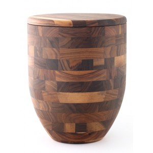 Fine Walnut Cremation Ashes Urn (Cross Glued, Oiled Finish, Vase Design)