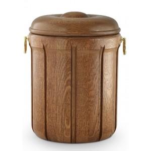 Rustic Oak Cremation Ashes Urn (Decorative Carving & Handles)