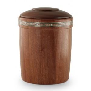 Mahogany Intarsia Frieze Cremation Ashes Urn (Hand Crafted & Lovingly Made)