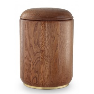 Rustic Oak Cremation Ashes Urn (Natural Hardwood with Base)