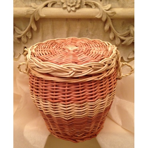 Autumn Gold Cream & Natural Wicker Willow Two Tone Cremation Ashes Urn