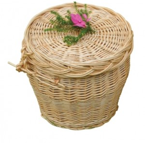 Creamy White Wicker / Willow Oval Wellsbourne Cremation Ashes Casket.