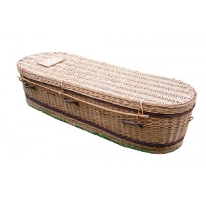Golden Brown Wicker / Willow Sovereign (Oval Style) Coffin. Top Quality, Low Prices