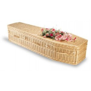 Premium Wicker / Willow Imperial  Creamy White Traditional Coffin.